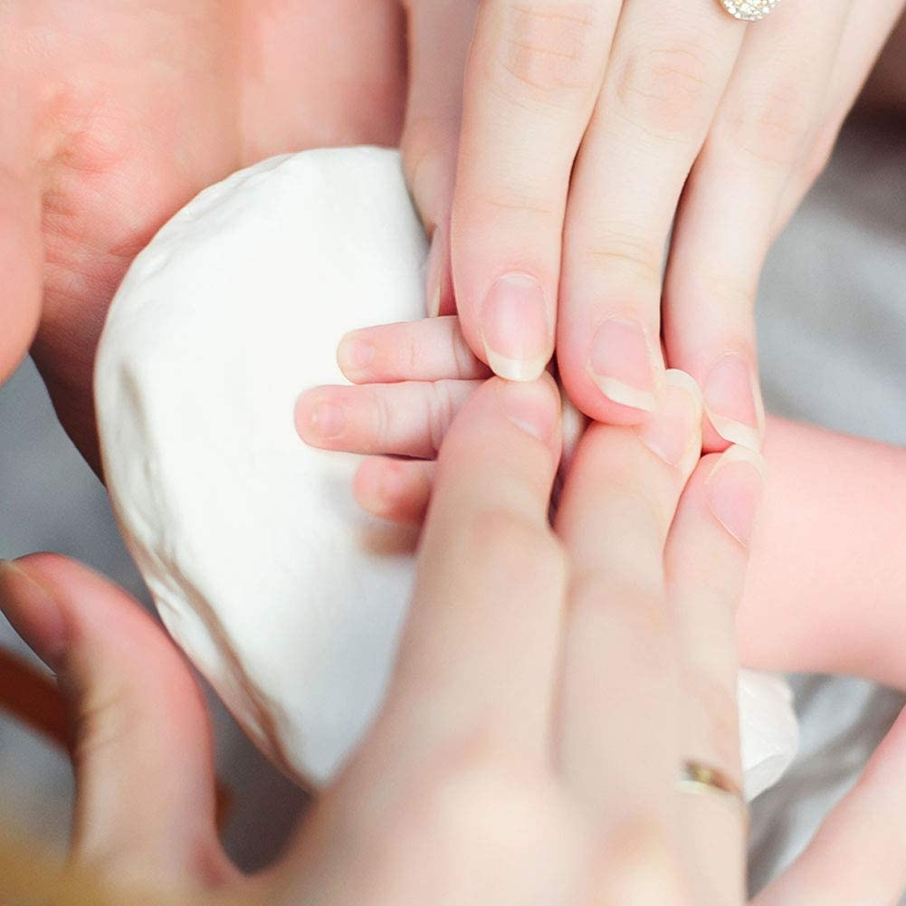 Kit de Marco para Huella de Pie y Manos del Bebe Ideal Decoraci/ón o Regalo de Baby Shower SaponinTree Marco Fotos para Reci/én Nacido Marco de Madera y Cristal Acr/ílico