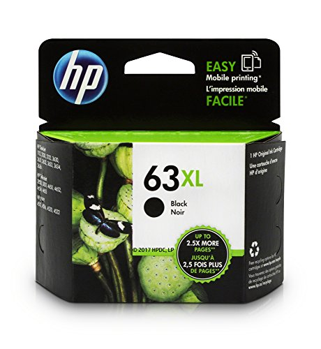 Black Officejet Ink - HP 63XL Black High Yield Original Ink Cartridge (F6U64AN) for HP DeskJet 1112, 2130, 2132, 3630, 3631, 3632, 3633, 3634, 3636, 3637, HP ENVY 4511, 4512, 4516, 4520, 4521, 4522, 4524, HP OfficeJet 3830, 3831, 3832, 3833, 4650, 4652, 4654, 4655