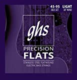GHS Strings 4 Precision Flats, Stainless Steel Flatwound Bass Strings, 38' Winding, Light (.045.095) (3025)