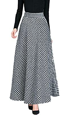 FLCH+YIGE Women's Elegant Plaid Wool Woolen A-line Long Maxi Skirt with Pockets