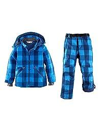 Tortor 1Bacha Boys' 2 Piece Plaid Snowboard Snowsuit Ski Jacket Pant Set Blue