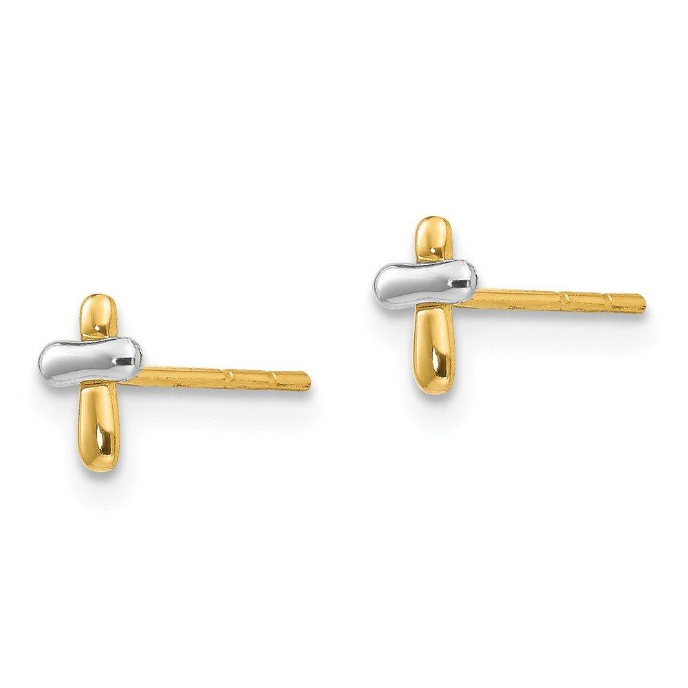 14K White And Yellow Gold Madi K Childrens 4 MM Cross Post Stud Earrings