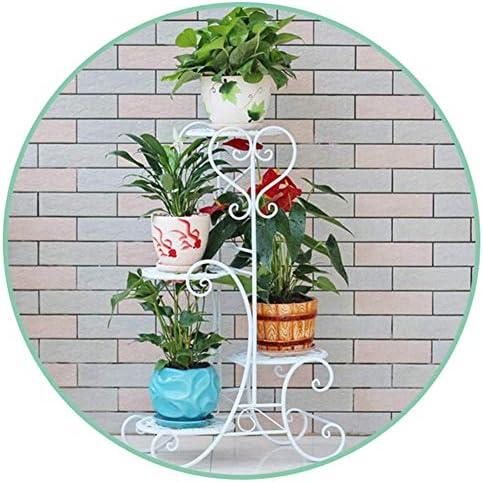 YAeele ガーデンアウトドアポットシェルフマルチレベルプラントポットディスプレイラック組み立てが簡単で、屋外と屋内の装飾用に設置-three white two sets