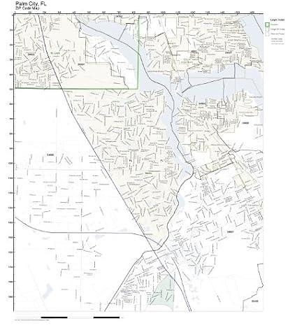 Amazon Com Zip Code Wall Map Of Palm City Fl Zip Code Map