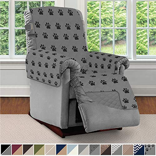 Sofa Shield Original Patent Pending Reversible Recliner Slipcover, 2 Inch Strap Hook Seat Width to 25 Inch Washable Slip Cover Furniture Protector for Recliners, Pets, Small Recliner, PAW Gray Black (Buffalo Leather Sofa)