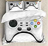 Lunarable Gamer Duvet Cover Set Queen Size, Modern Gamepad with Colorful Action Buttons with Joysticks and D-Pad, Decorative 3 Piece Bedding Set with 2 Pillow Shams, Charcoal Grey Pale Grey