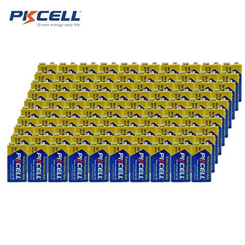 9V Super Heavy-Duty Battery 6F22 Mn1604 for Smoke Detectors (100pc) ()