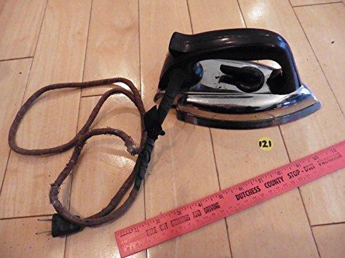 (Vintage Westinghouse LHC-104 Clothes Iron Press cloth cord Art Deco black)