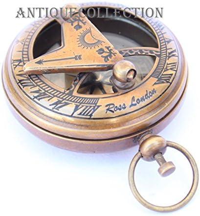 ANTIQUECOLLECTION Antique Brass Push Button Pocket Compass