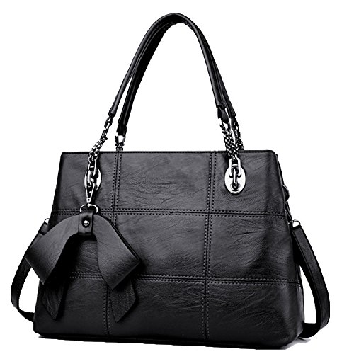 Black Look Femmes à Sac Pour à Sacs Handle Main V Les Mode Shoulder Main élégant Top Shape Leather Design 4qgwUw