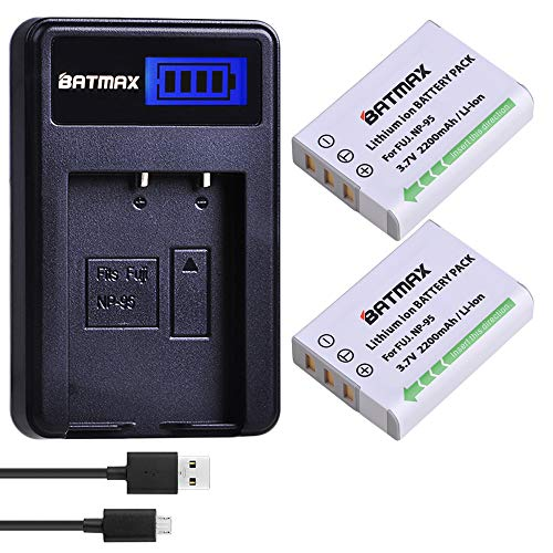 (Batmax 2 Packs NP-95 NP 95 Rechargeable Li-Ion Batteries + LCD USB Charger for Fujifilm NP-95 Battery,Fuji X-100,FinePix F30,FinePix Real 3D W1,X100S,X-S1 Digital Cameras )