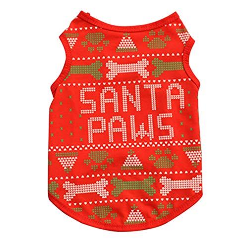 EBRICKON Christmas Pet Dog Puppy Clothes, Small Dog Santa Vest T-Shirt Doggie Apparel Costume ()