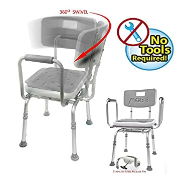 Incredible Mobb Premium Bathroom Swivel Shower Chair Bath Bench With Back 360 Degree Swivel Seat With Locking Mechanism Theyellowbook Wood Chair Design Ideas Theyellowbookinfo