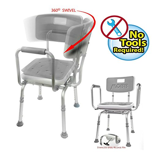 (MOBB Premium Bathroom Swivel Shower Chair Bath Bench with Back, 360 Degree Swivel Seat with Locking Mechanism)