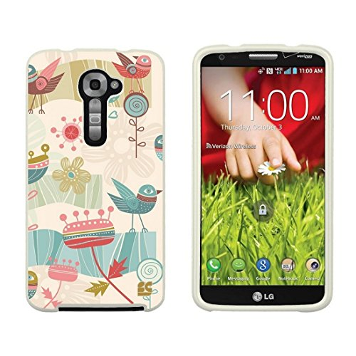 Slim Light Weight 2 Piece Snap On Non-Slip Matte Hard Design Rubber Coated Rubberized Case with Premium Protection for LG G2 VS980 (Verizon Version Only) - Egyptian Bird - White (Lg G2 Rubber Phone Case Verizon)