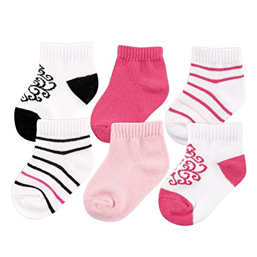 Yoga Sprout Baby No Show Socks, 6 Pack, Black/Dark Pink, 6-12 Months