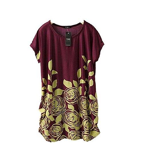 Coton Femme Manches Glace Robe Lache Violet 1pc Blouse de Haut Occasionnel Soie Ineternet Robe Shirt T Courtes Btw45pqA