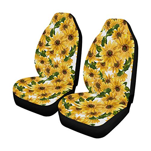 INTERESTPRINT Custom Sunny Sunflower Car Seat Covers for Front of 2,Vehicle Seat Protector Fit Most Car,Truck,SUV,Van -