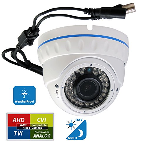 Evertech CCTV Security Camera - 1200 TVL, 36 IR LED Color, 2.8~12mm Wide Angle ZOOM Vari-focal Lens Indoor & Outdoor-Day & Night Metal White Home Security Surveillance Dome Camera - White