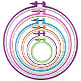 Pistha 6 Pieces Embroidery Hoops Cross Stitch Hoop Ring Plastic Embroidery Circle Set Quilting Needlecraft Tools Kit in 6 Different Size 3.7 inch to 11 inch Multicolor for DIY Art Craft