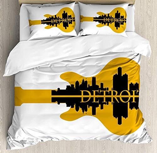 OUR WINGS Detroit Decor Duvet Cover Set Queen Size, High Rise Buildings Silhouette Reflection Electric Guitar Instrument Music, Decorative 4 Piece Bedding Set with 2 Pillow Shams, Yellow Black