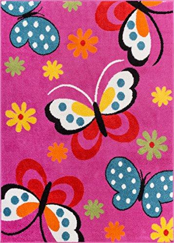 (Well Woven 09305 StarBright Daisy Butterflies Modern Abstract Pink 5' x 7' Kids Area)
