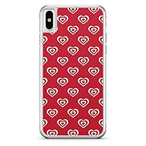 Apple iPhone X Transparent Edge Valentines Day Couples Love Heart Pattern - Multi Color
