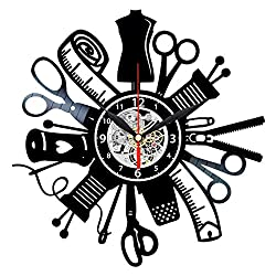 Queen Clocks Sewing Tools Vinyl Record Wall Clock - Handmade Gift for People Who Love to Sew
