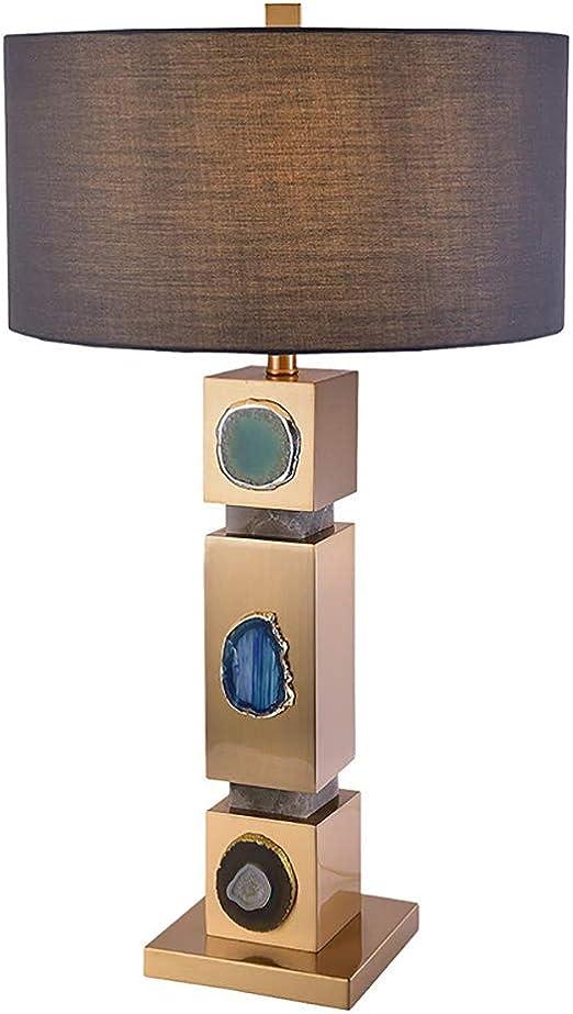 Lámpara de mesa de mármol natural posmoderna Ágata creativa Estudio decorativo Sala de estar Dormitorio Lámparas de mesa grandes Ø 45cm Pantalla de tela Mesita de noche de hotel Luz de escritorio: