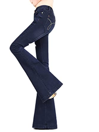 VIGVOG Women Dark Blue Curvy Stretch Denim Wide Leg Flare Jeans at ... 821b8e58f3