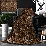 Ralahome Unique Custom Double Sides Print Flannel Blankets Wood Thai Pattern Handmade Wood Carvings Chiangmai Thailand Super Soft Blanketry for Bed Couch, Throw Blanket 60 x 50 Inches