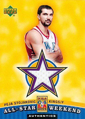 - Autograph Warehouse 343655 Peja Stojakovic Player Worn Jersey Patch Basketball Card - Sacramento Kings 2004 Upper Deck All Star No. ASW-PS