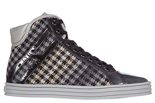 Hogan Rebel chaussures baskets sneakers hautes femme en cuir rebel gris