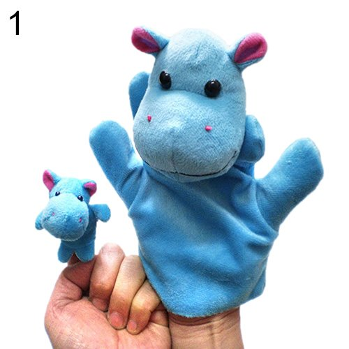 Child Blue Macaw Costume (2Pcs Lovely Kids Baby Plush Toys Finger Puppet Talking Props Animals Hand Puppets 6X96^Blue.)