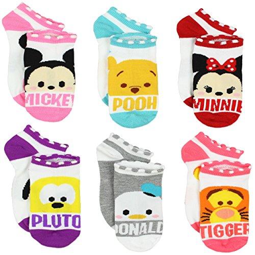Tsum Tsum Girls Womens 6 pack Socks (6-8 (Shoe: 10-4), Names (Pooh Socks)