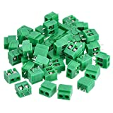 50 Pieces 2 Pin 5 mm Pinch PCB Mount Screw Terminal Block Connector 300V 10A (Green)