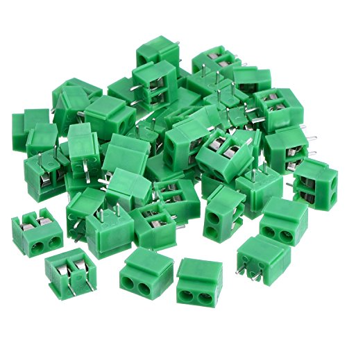 50 Pieces 2 Pin 5 mm Pinch PCB Mount Screw Terminal Block Connector 300V 10A (Green) (Pcb Terminal)