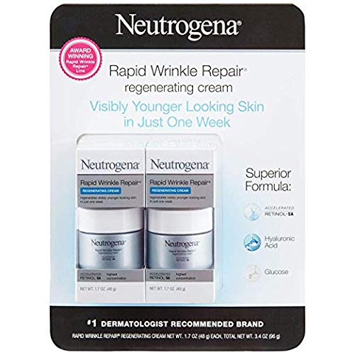 Rapid Wrinkle Repair Retinol Anti-Wrinkle Regenerating Face Cream, Day and Night Use, 2 Bottles (1.7 oz)