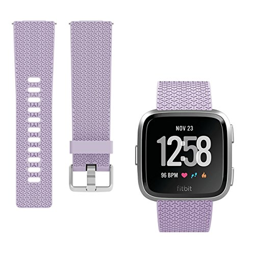 Kutop For Fitbit Versa Band, Soft TPU Replacement Sport Bands Classic Accessory Strap Fitness Wristband With Metal Buckle For Fitbit Versa Smart Watch Women Men Large Small,Light Purple ()