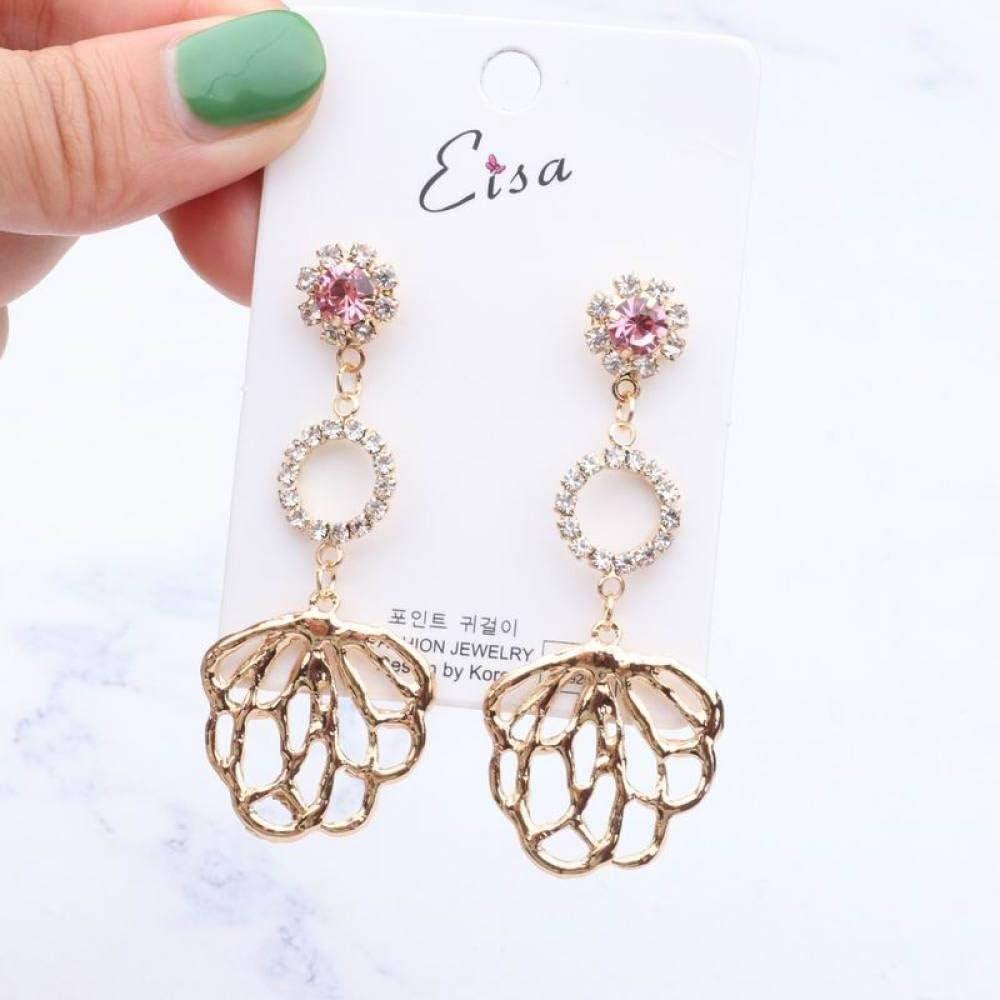 Erin Earring Coreano Retro Flor Grande De Metal Pendientes Largos Anillo De Diamantes De Imitación Femenino Temperamento Moda