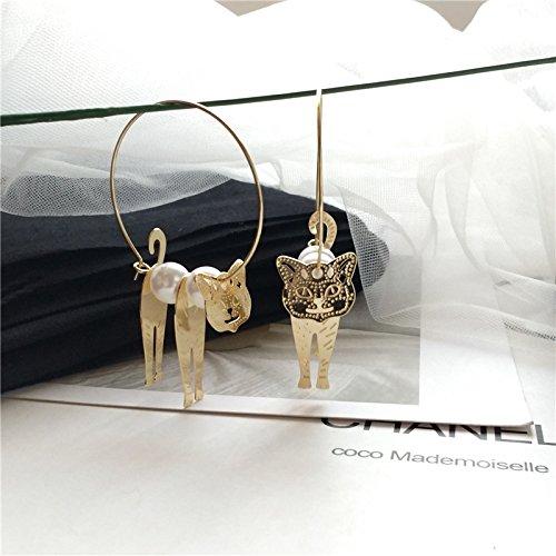Persian cat meow pet pearl metal circle earrings lovely flower girl cat retro cat ear ring earrings (Slave Earring)