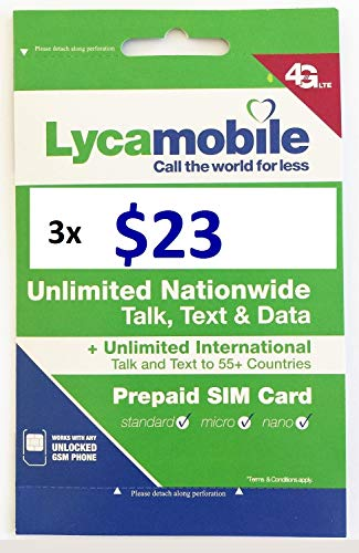Cyprus Data Card - Lycamobile USA $23 Plan Sim Cards Include 3 Month Plan Plus 3GB Data Each Month