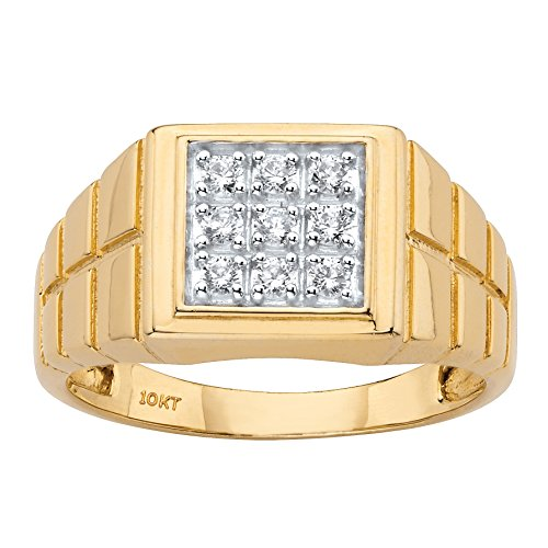 - Men's 10K Yellow Gold Textured Square Grid Diamond Ring (.27 cttw, HI Color, I3 Clarity) Size 13