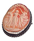 DiVinci Three Graces Hand Carved Cameo Brooch/Pendant