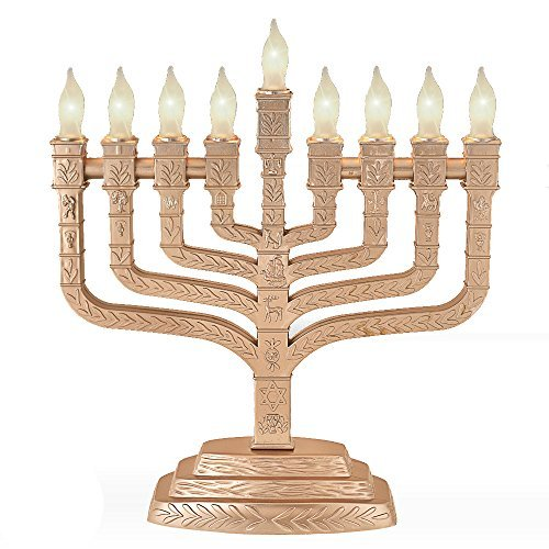 Electric Menorah Knesset Style With Symbol of the Twelve Tribes and Frosted Bulbs, Gold