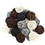 #4: Juvale 24-Pack Multiple Color Wicker Rattan Balls - Decorative Orbs Natural Spheres Craft DIY, Wedding Decoration, Christmas Tree, House Ornaments Vase Filler - 4 Colors Assorted, 45 mm