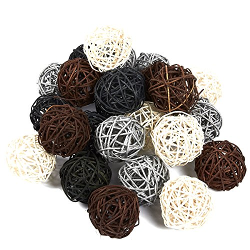 Grapevine Table - Juvale 24-Pack Multiple Color Wicker Rattan Balls - Decorative Orbs Natural Spheres for Craft and DIY, Wedding Decoration, Christmas Tree, House Ornaments and Vase Filler - 4 Colors Assorted, 45 mm