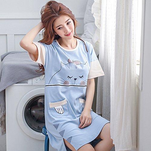 活性化するである服を片付ける可愛い ホームナイトドレス 妊婦パジャマ 青猫 (XL)