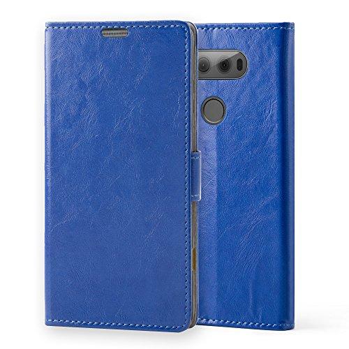 LG V20 Funda,Aomo LG V20 Case Cubierta del caso con cuero [estilo del libro][ranuras para tarjetas][Caso del tirón] de la caja del teléfono de la PU de cuero protectora para LG V20 2016-Negro Azul