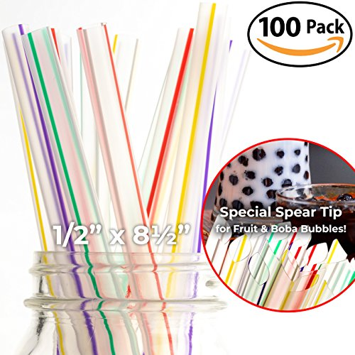 Bubble End - 100 Pack of Extra Wide Straws with Pointed End for Spearing Fruit or Boba Tea Bubbles. Each Striped, Individually Wrapped, BPA-Free 8.5in Long Straight Straw is Great for Tall Milkshakes or Smoothies!